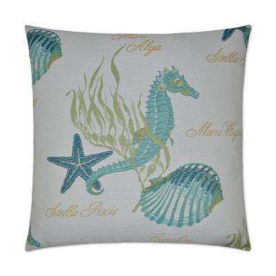 Hippocampus Feather Down 24 in. x 24 in. Standard Decorative Throw Pillow
