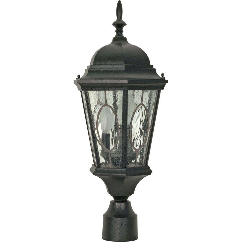 Glomar Fordham - 3-Light - 22 in. - Post Lantern - with Clear Water & Seed Glass Panels-DISCONTINUED