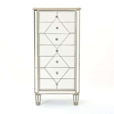 Benson 7-Drawer Mirrored Chest with Silver Faux Wood Frame