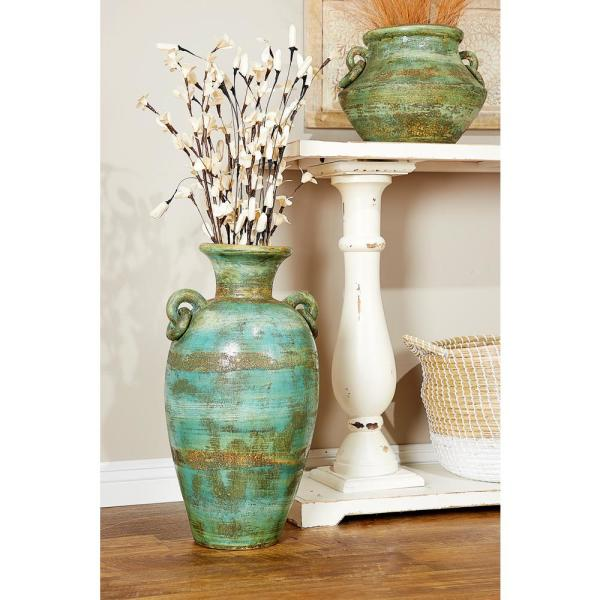 Distressed Green, Black, and Yellow Terracotta Amphora Decorative Vase