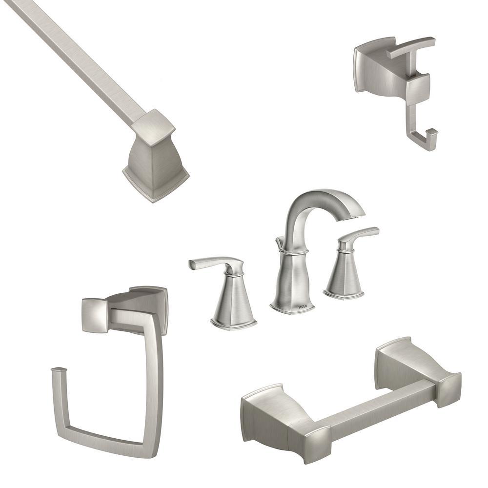 MOEN Hensley 8 in. Widespread 2-Handle Bathroom Faucet with 4-Piece Bath Hardware Set in Spot Resist Brushed Nickel