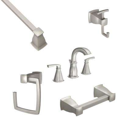 Hensley 8 in. Widespread 2-Handle Bathroom Faucet with 4-Piece Bath Hardware Set in Spot Resist Brushed Nickel