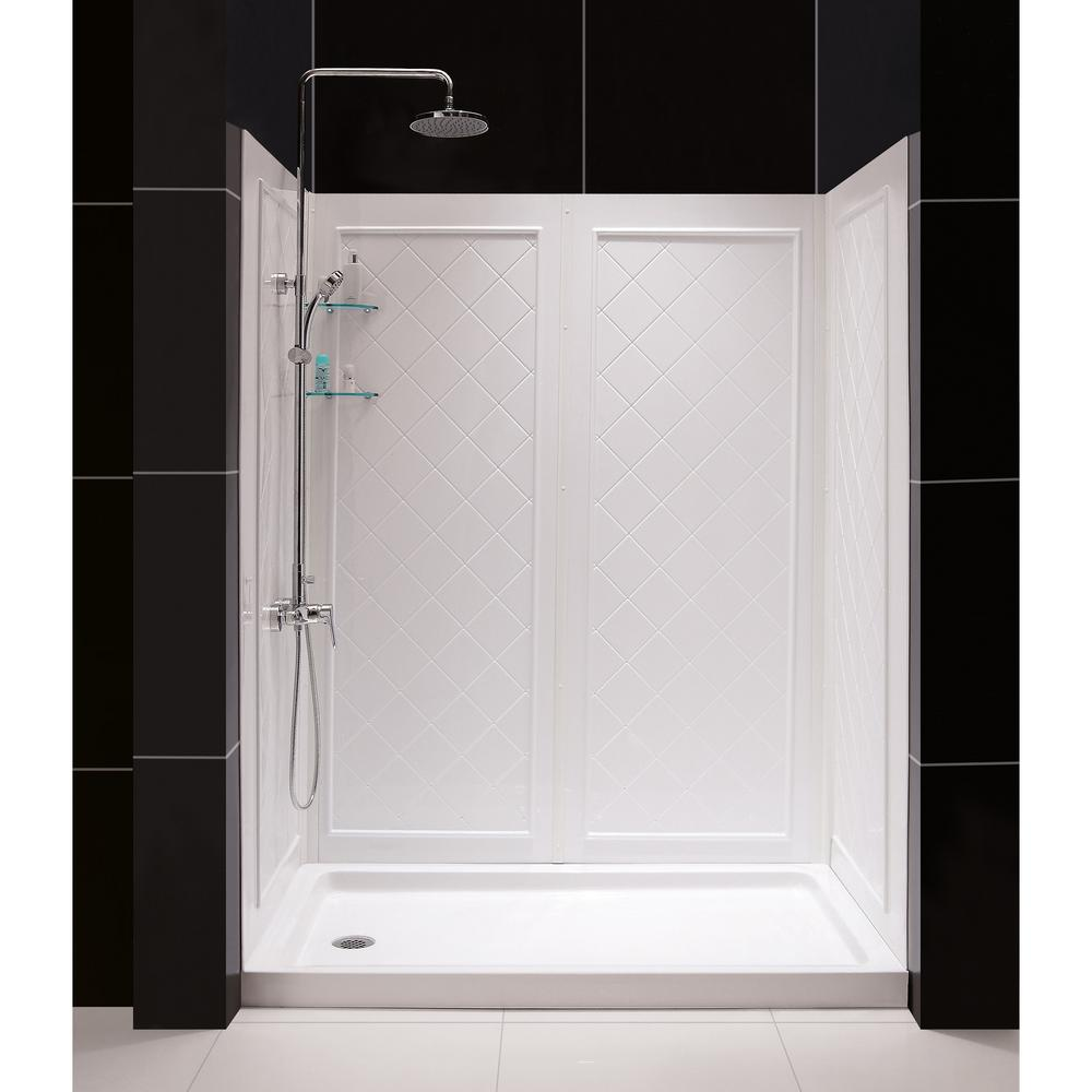 2 piece tub shower. Single Threshold Shower Base in White Right DreamLine SlimLine 34  x 60
