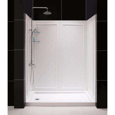SlimLine 34 in. x 60 in. Single Threshold Shower Base in White Right Hand Drain Base with Back Walls