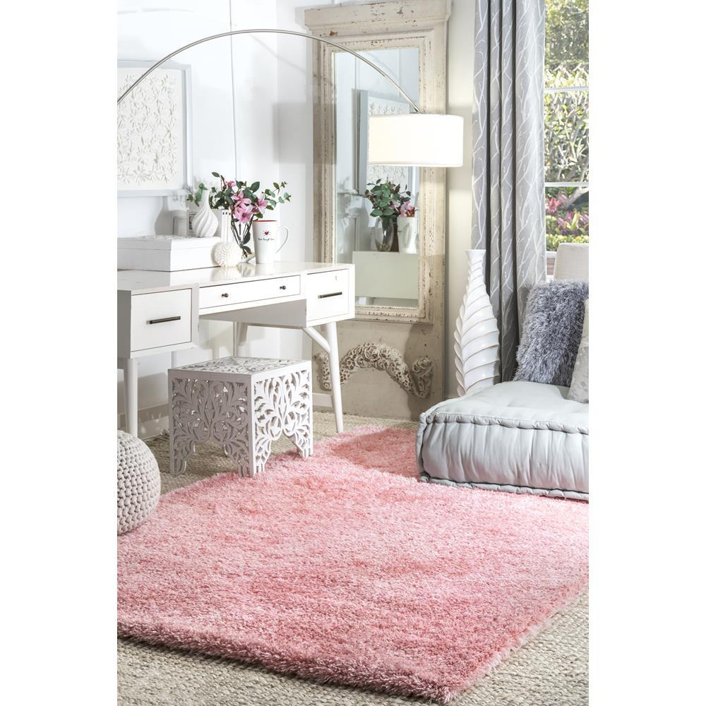 Nuloom Gynel Solid Shag Baby Pink 8 Ft X 10 Area Rug