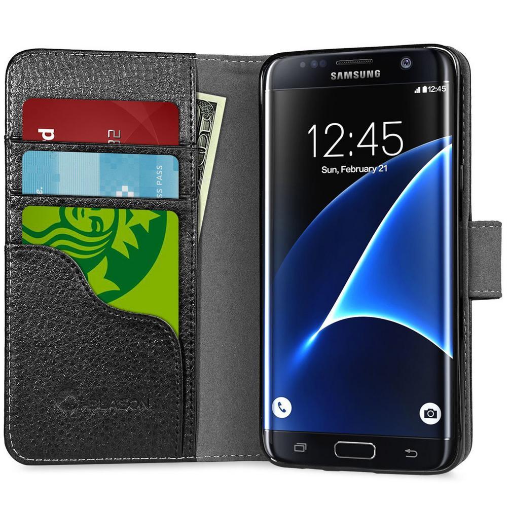 i-Blason-Galaxy S7 Edge-Synthetic Leather Wallet Case-Black