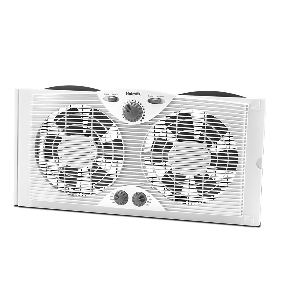 9 in. Dual Blade Window Fan with Comfort Control Thermostat