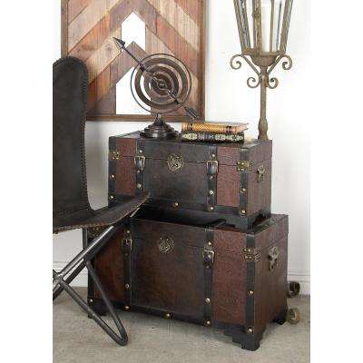 Distressed Brown MDF Wood with Faux Leather Cover Trunk-Style Footed Decorative Boxes (Set of 3)