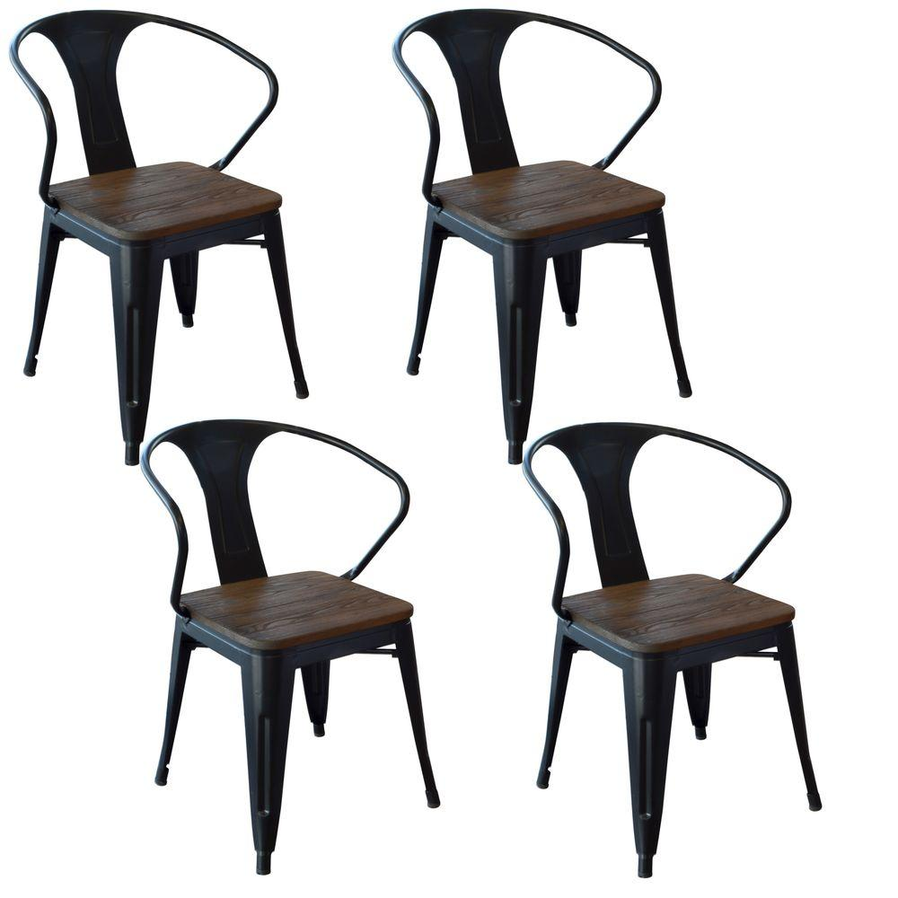Amerihome Black Metal And Wood Dining Chair Set Of 4
