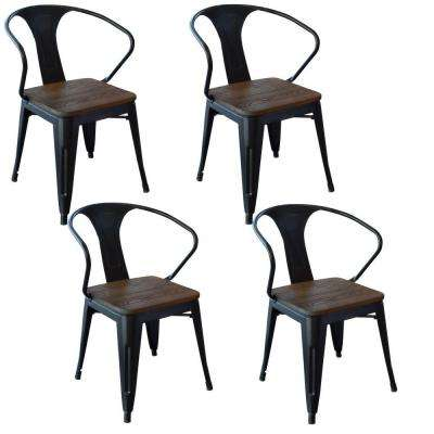 black metal and wood dining chair set