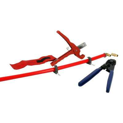 PEX Plumbing Kit - Crimper, Cutter Tool with Lock Hook, 1/2 in. Elbow Cinch & Half Clamp