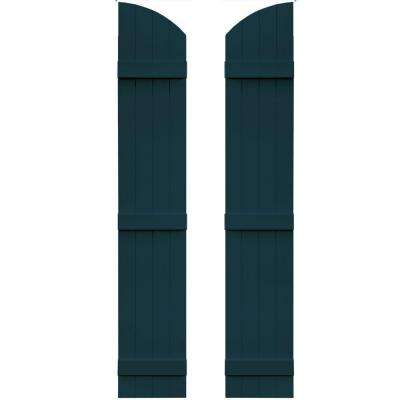 14 in. x 81 in. Board-N-Batten Shutters Pair, 4 Boards Joined with Arch Top #166 Midnight Blue
