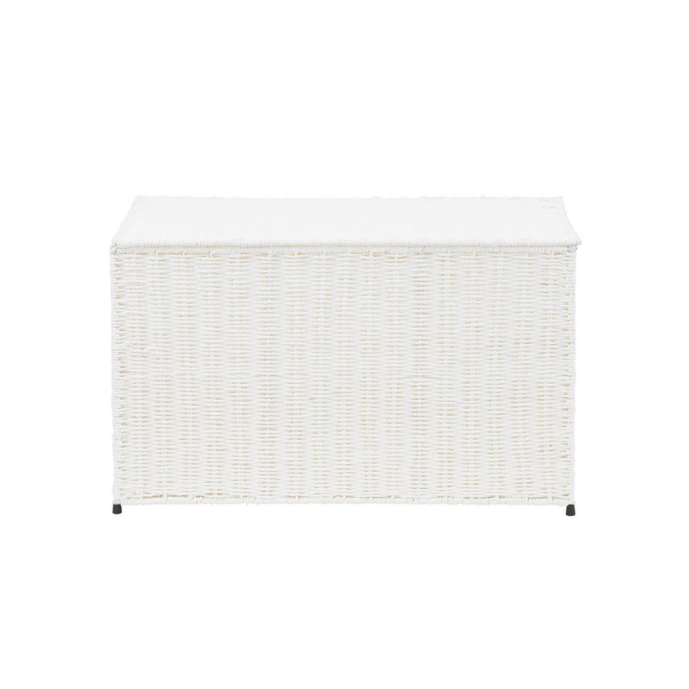 Household Essentials Arctic White Large Wicker Storage Chest