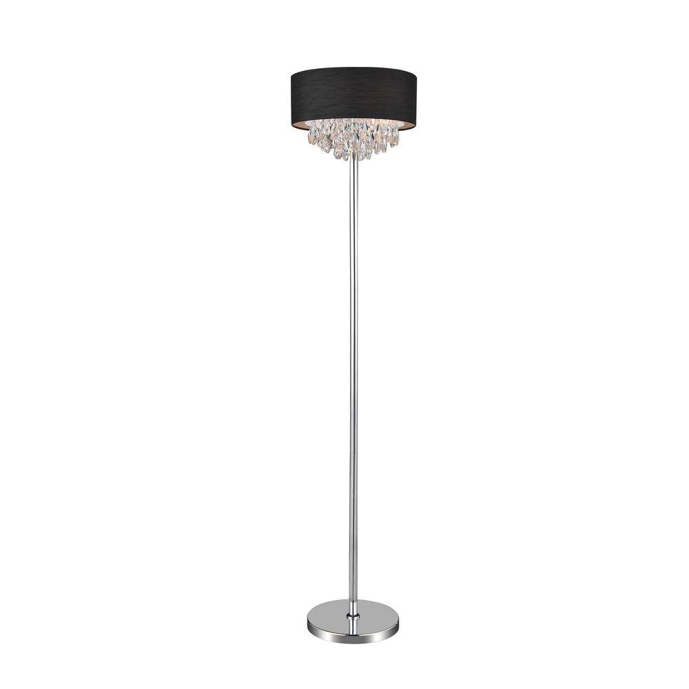 CWI Lighting Dash 65 in. Chrome Floor Lamp with Black Shade-5443F16C ...