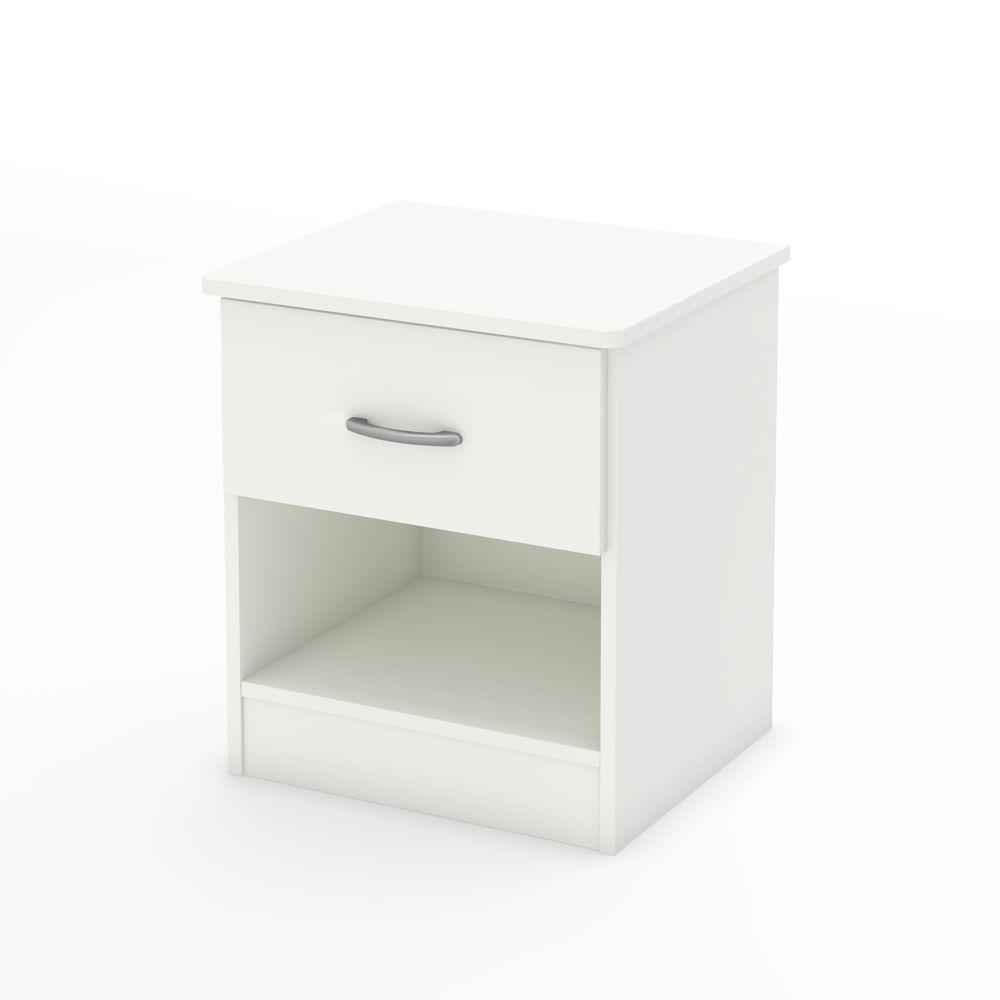 Libra 1-Drawer Pure White Nightstand