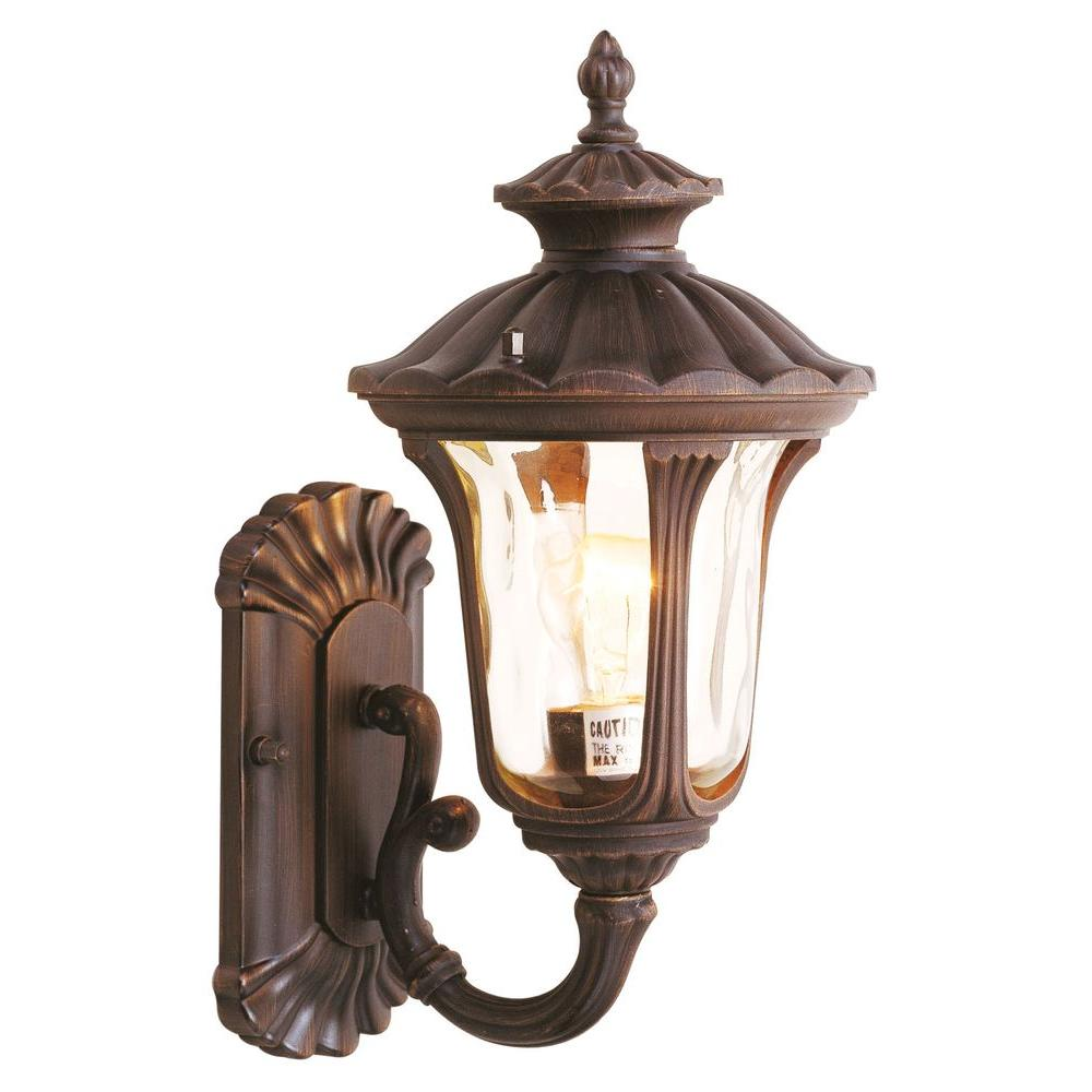 Livex Lighting Providence 1-Light Imperial Bronze with Light Amber Water Glass Outdoor Wall Lantern