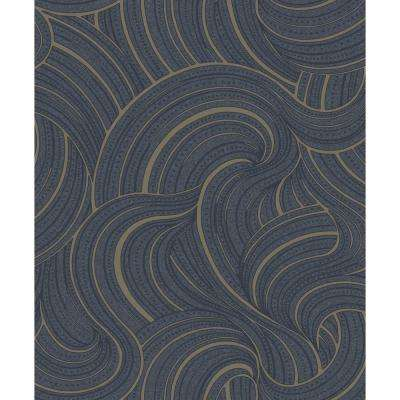 Twisted Clouds Wallpaper Navy Paper Strippable Roll (Covers 57 sq. ft.)