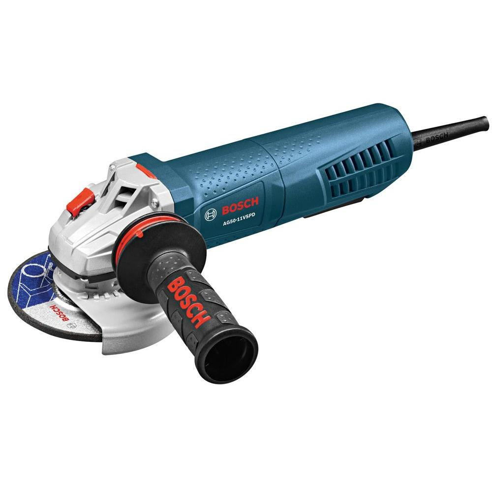 Bosch 11 Amp Corded 5 in. Variable Speed Angle Grinder with No-Lock-On Paddle Switch