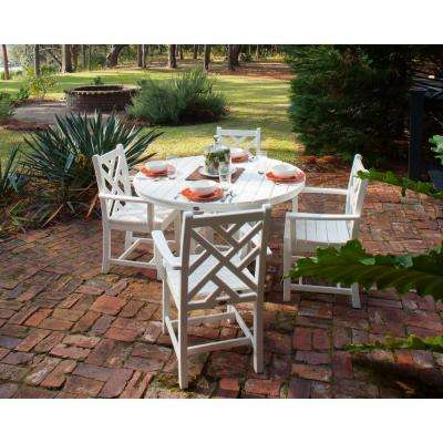 Chippendale White 5 Piece Plastic Outdoor Patio Dining Set