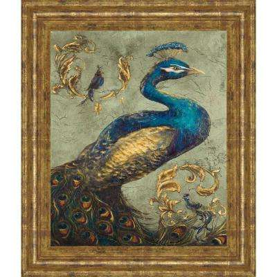 """22 in. x 26 in. """"Peacock on Sage I"""" by Tiffany Hakimipour Framed Printed Wall Art"""