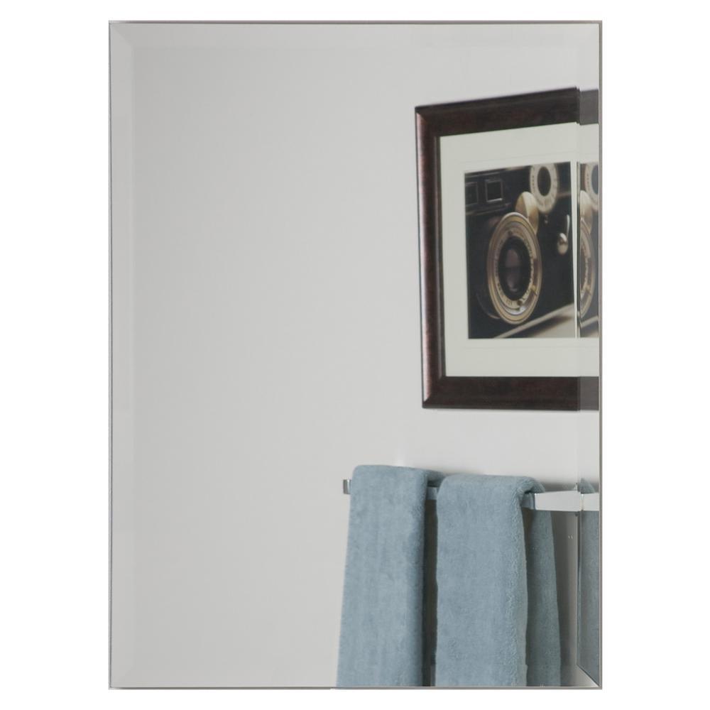 24 in. x 32 in. Single Modern Rectangle Frameless Bathroom Mirror with Beveled Edge