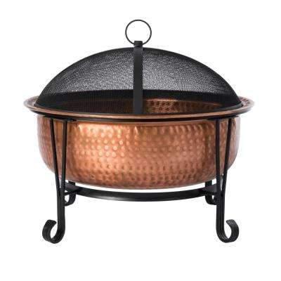 Palermo 26 in. x 21 in. Round Hammered Wood Burning Fire Pit in Copper with Fire Tool