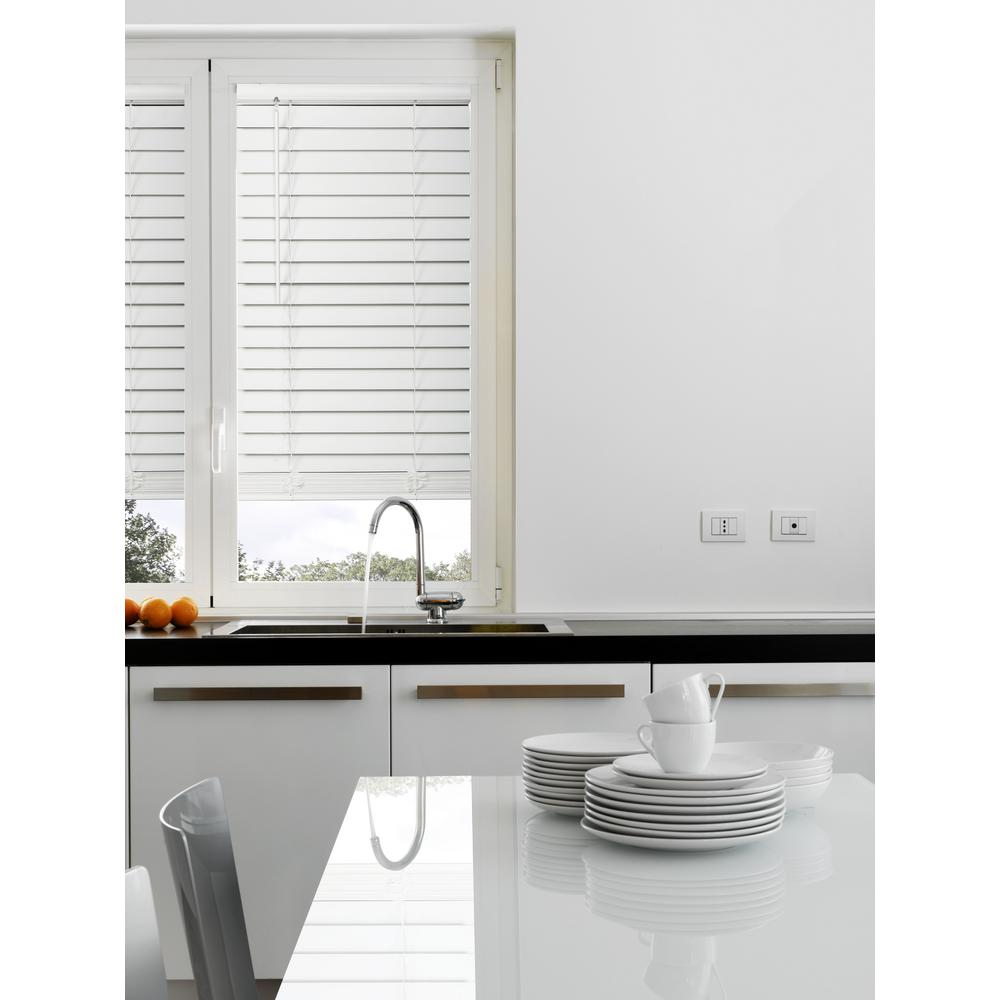 Home Decorators Collection White Cordless 2-1/2 in. Premium Faux Wood Blind - 33 in. W x 64 in. L (Actual 32.5 in. W x 64 in. L)