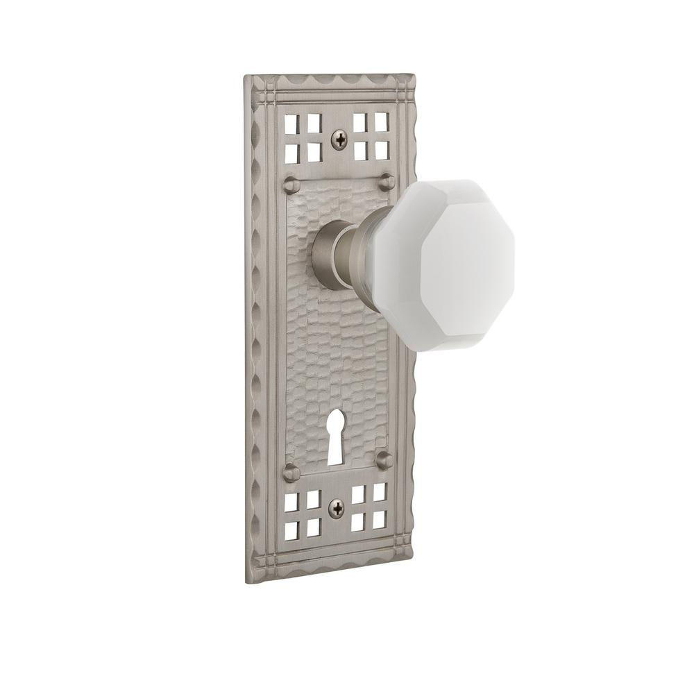 Craftsman Plate Interior Mortise Waldorf White Milk Glass Knob in Satin