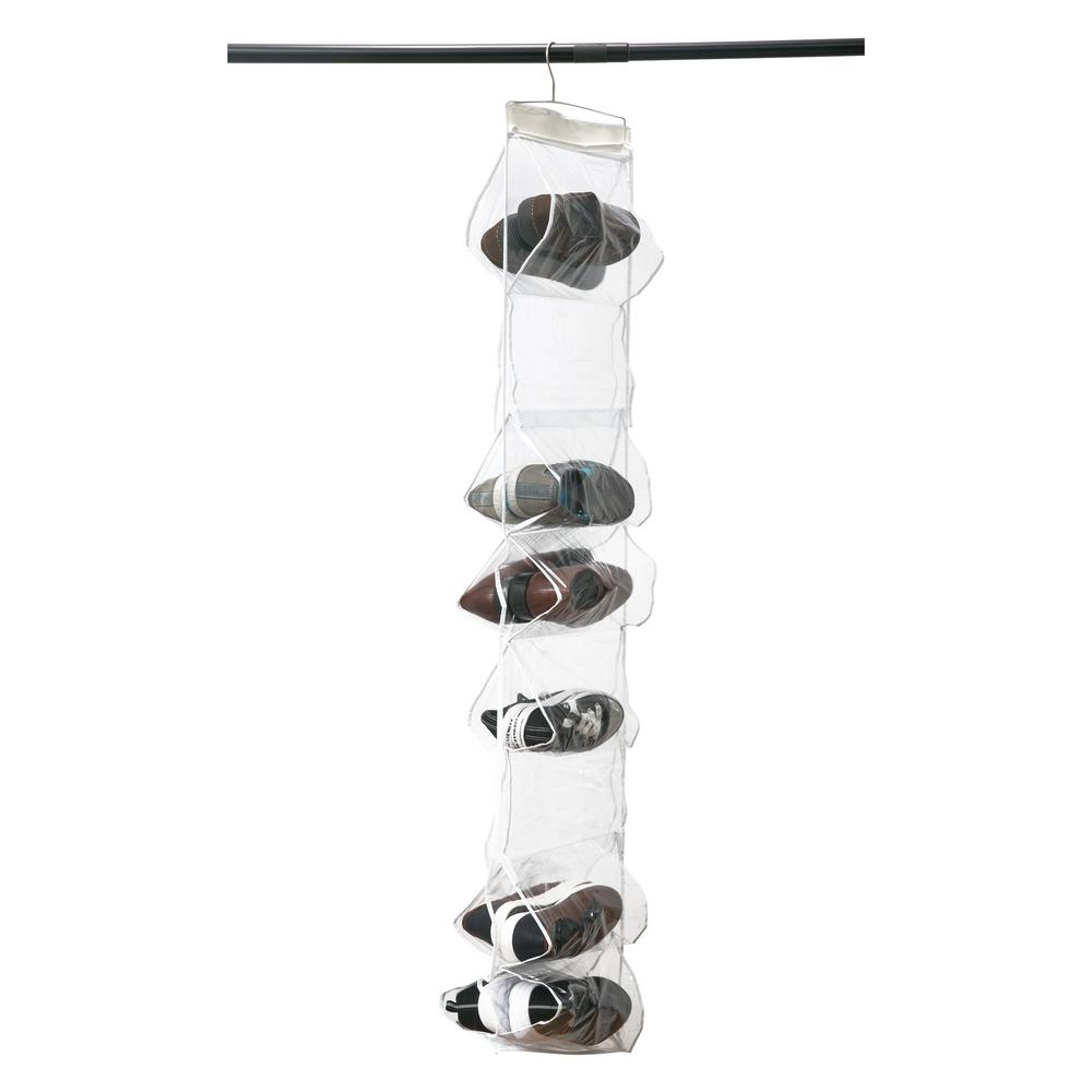 Simplify 13 in. x 57 in. 18 Pocket Crystal Clear Hanging Shoe Caddy