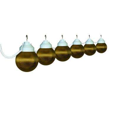 6-Light Outdoor White and Bronze Prismatic String Light Set