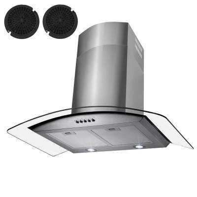 36 in. Convertible Wall Mount Range Hood in Stainless Steel with Tempered Glass and Carbon Filters