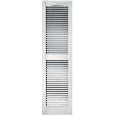 15 in. x 55 in. Louvered Vinyl Exterior Shutters Pair in #117 Bright White