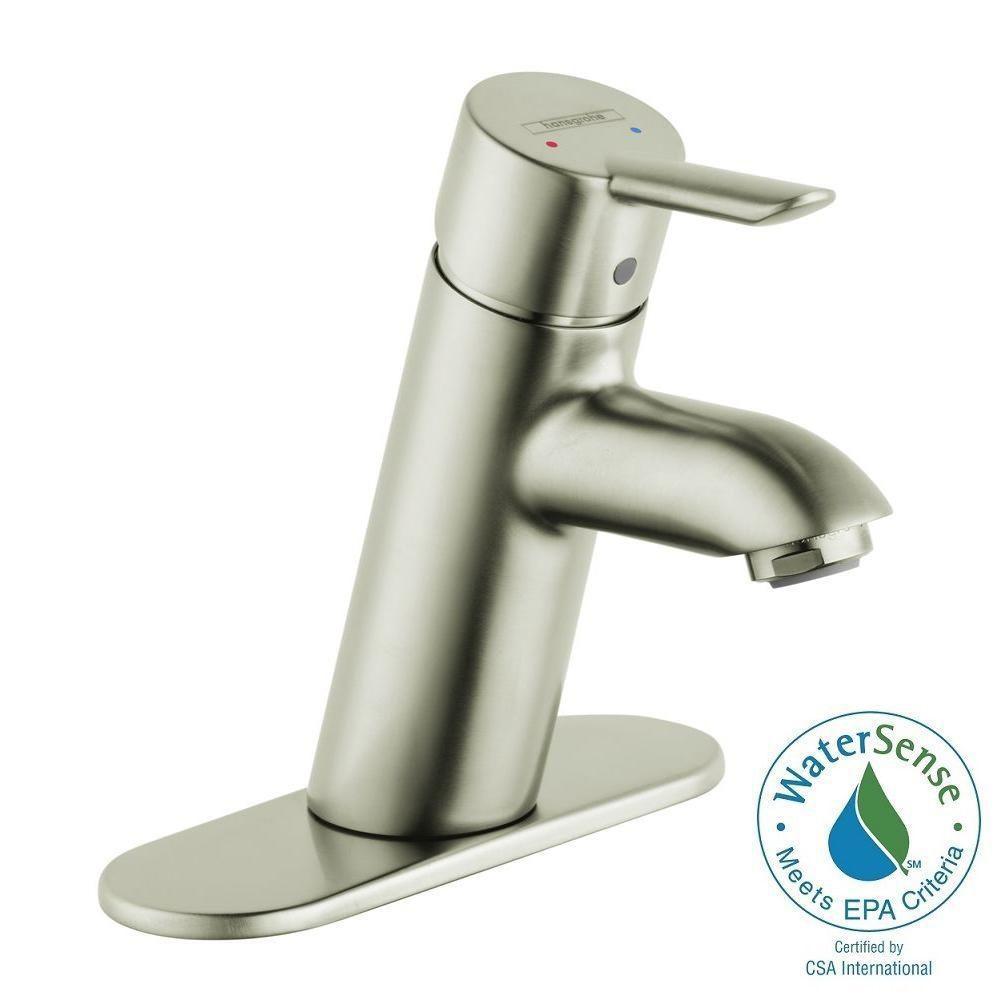 Focus S Single Hole 1-Handle Low-Arc Bathroom Faucet in Brushed Nickel