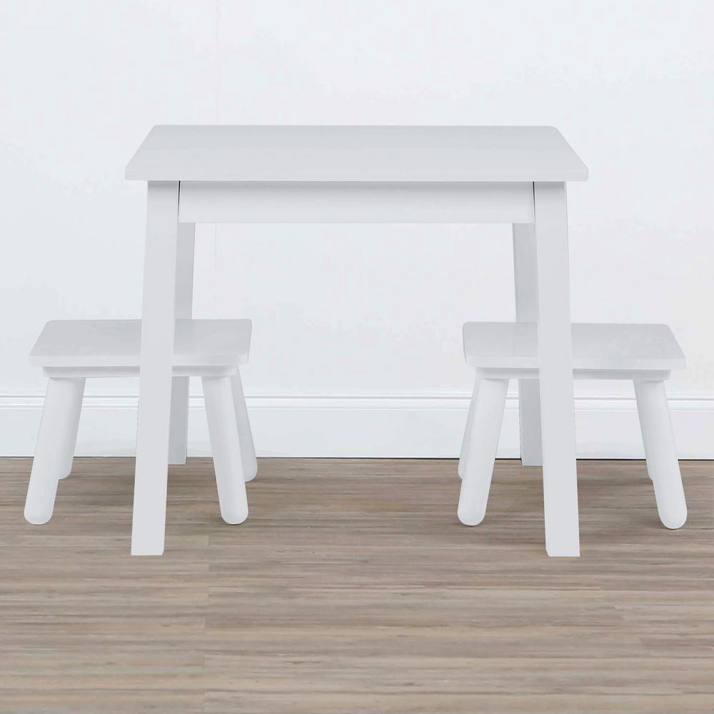 Tot Tutors Highpoint 3-Piece White Kids Wood Table and Stool Set : kids wood table and chairs - Cheerinfomania.Com