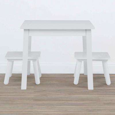 Highpoint 3-Piece White Kids Wood Table and Stool Set