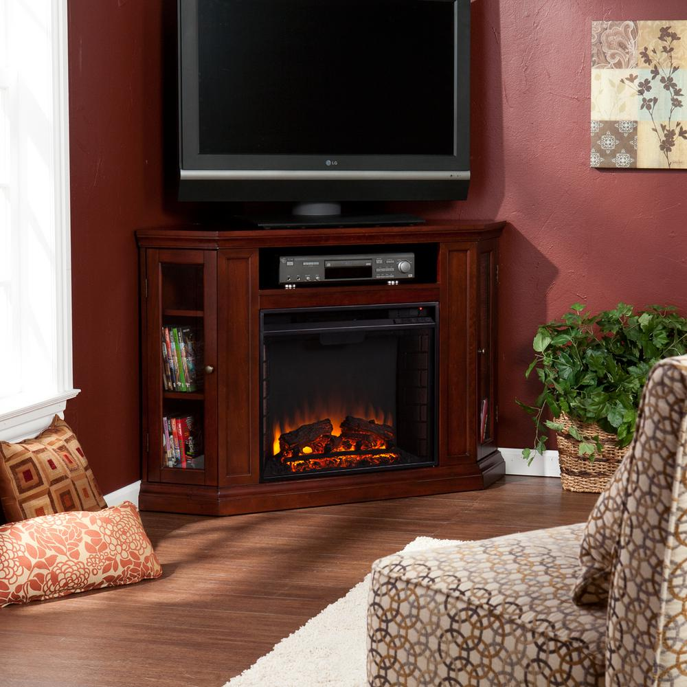 Hudson 48 in. W Convertible Media Electric Fireplace in Cherry