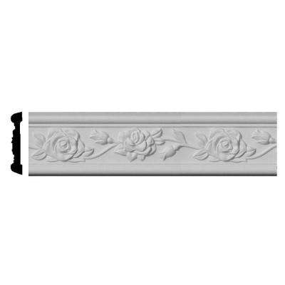 3/4 in. x 3-7/8 in. x 96 in. Polyurethane Running Rose Chair Rail Moulding