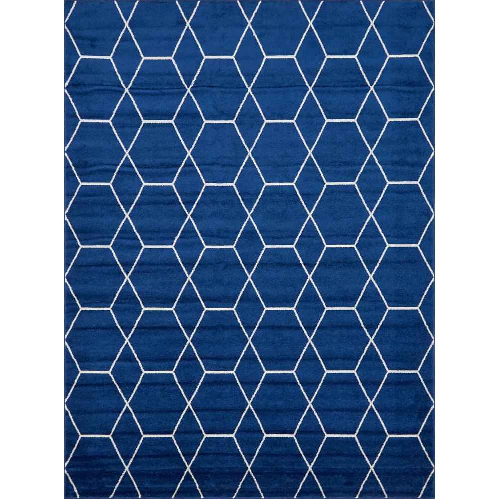 Trellis Frieze Navy/Ivory Blue 9 ft. x 12 ft. Geometric Area Rug
