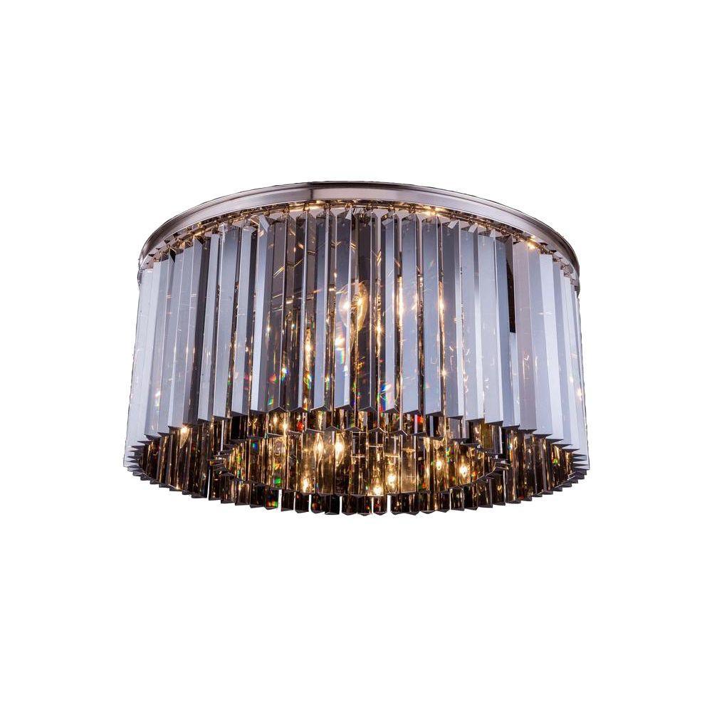 Sydney 8-Light Polished Nickel Flushmount with Silver Shade Grey Crystal