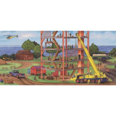 Construction Project by Sea Bridge Buildings Extra Wide Kids Prepasted Wallpaper Border