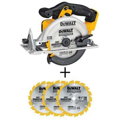 20-Volt 6-1/2 in. MAX Li-Ion Cordless Circular Saw (Tool-Only) with Bonus 6-1/2 in. 18-Tooth Fast Cutting Carbide Blade