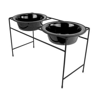6.25 Cup Modern Double Diner Feeder with Dog Bowls, Midnight Black