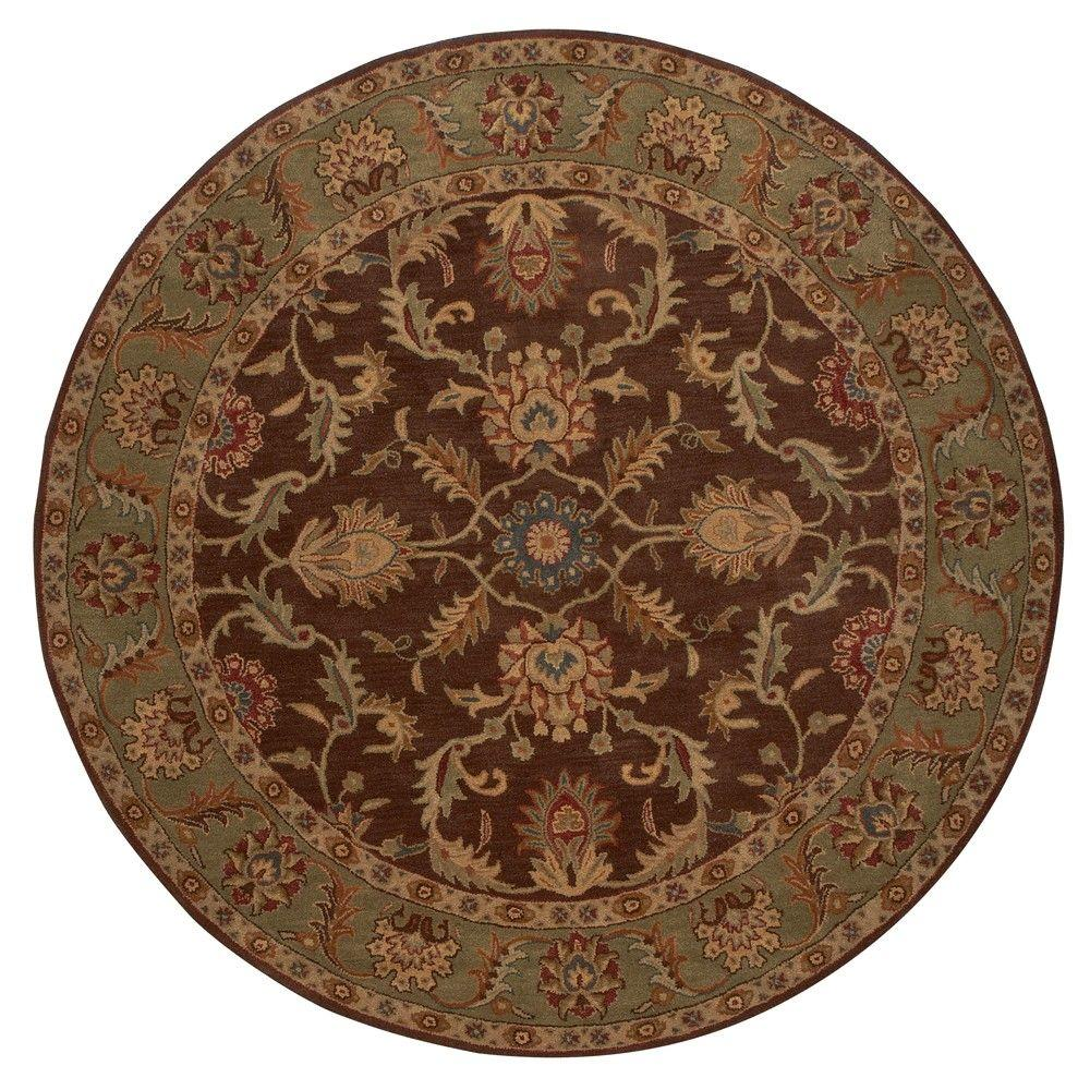home decorators collection aristocrat brown 8 ft x 8 ft round area rug 0167570820 the home depot. Black Bedroom Furniture Sets. Home Design Ideas