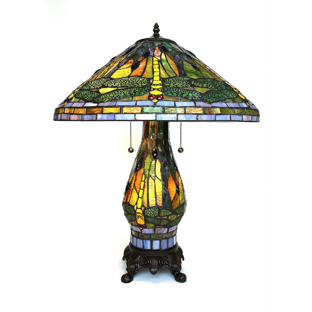 Serena D Italia Tiffany Style 25 In Green Dragonfly Table Lamp With Lighted Base