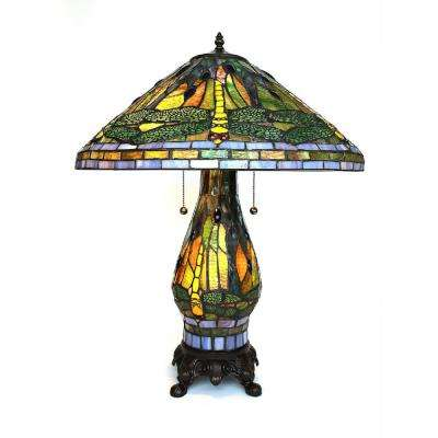 Tiffany Style 25 in. Green Dragonfly Table Lamp with Lighted Base