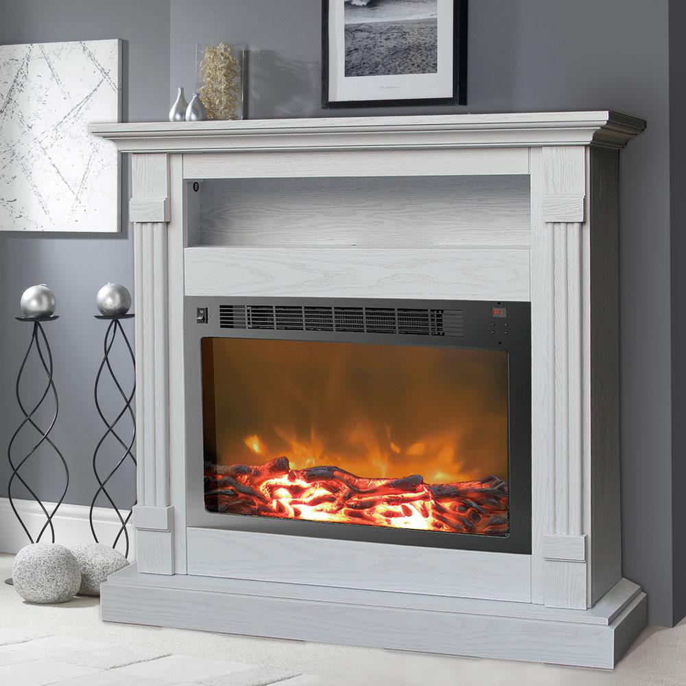 Cambridge Sienna White Electronic Fireplace Mantel with Insert gives you the cozy ambiance of a traditional fireplace. Convenient remote control.