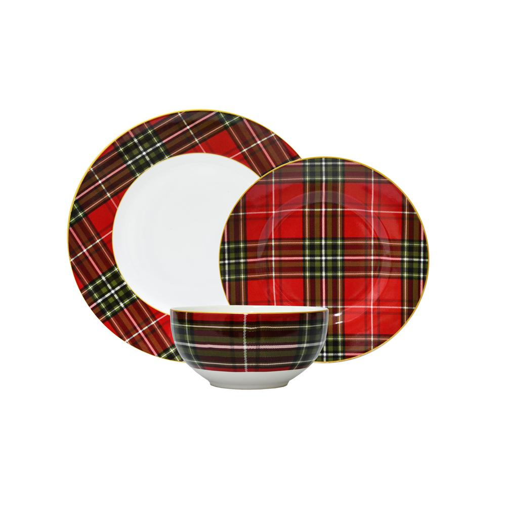 222 Fifth Wexford Plaid 12-Piece Dinnerware Set