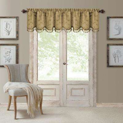 Mia 52 in. W x 19 in. L, Polyester Blackout Woven Window Curtain Drape Valance in Gold