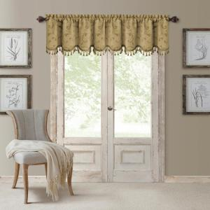 Mia 52 inch W x 19 inch L, Polyester Blackout Woven Window Curtain Drape Valance in Gold by