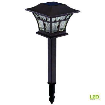 Solar Mediterranean Bronze Outdoor Integrated LED Landscape Path Light with Hammered Glass Lens (4-Pack)
